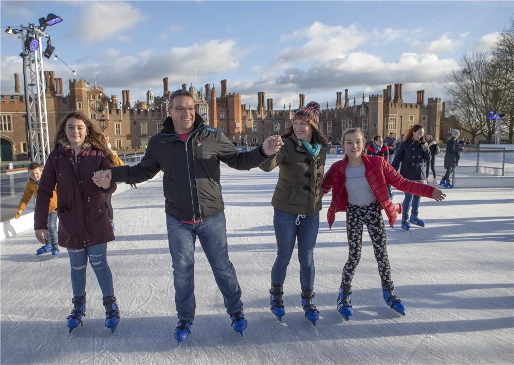 Family Ice Skating at Tower of London Ice Rink